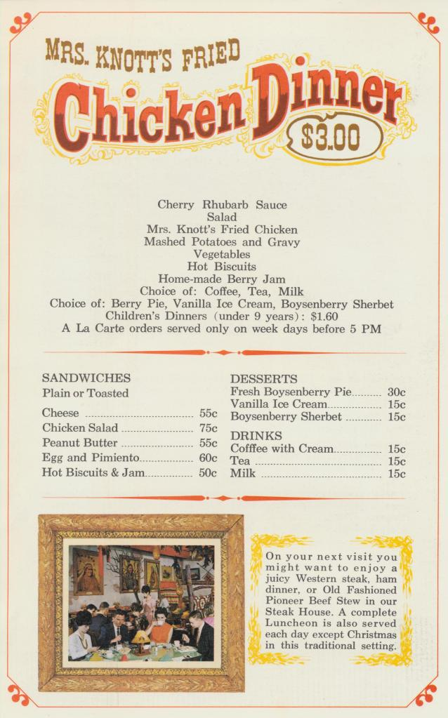 Knott's Berry Farm & Ghost Town Chicken Dinner Restaurant Menu – CARDBOAR