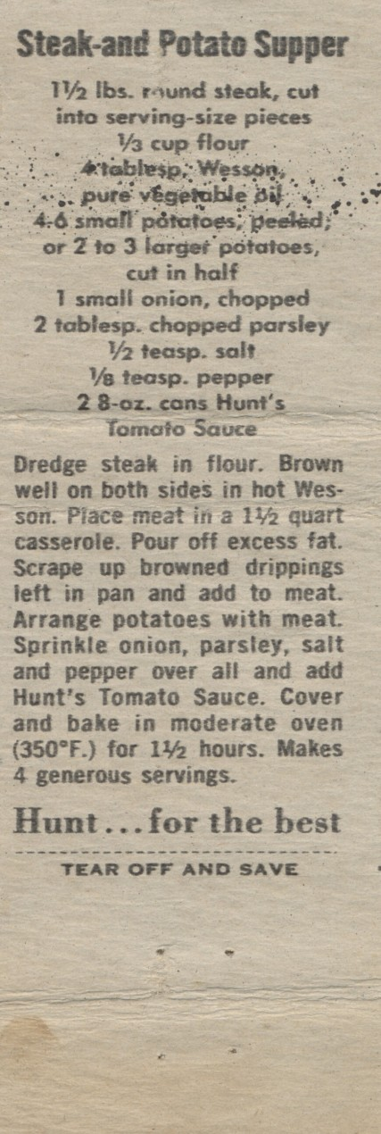 Steak and Potato Supper, 1960 (2)
