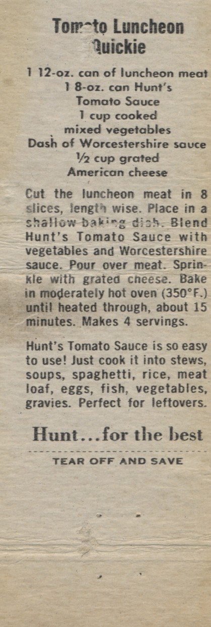 Tomato Luncheon Quickie, 1960 (2)