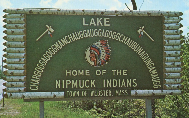 Sign, Lake Chargoggagoggmanchauggagoggchaubunagunga maugg, Webster, Mass.